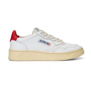 Baskets femme Autry Medalist LL21 Leather White/Red