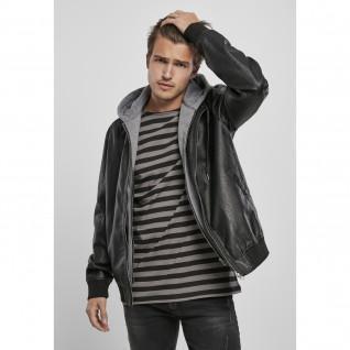 Veste à capuche Urban Classics fleece fake leather